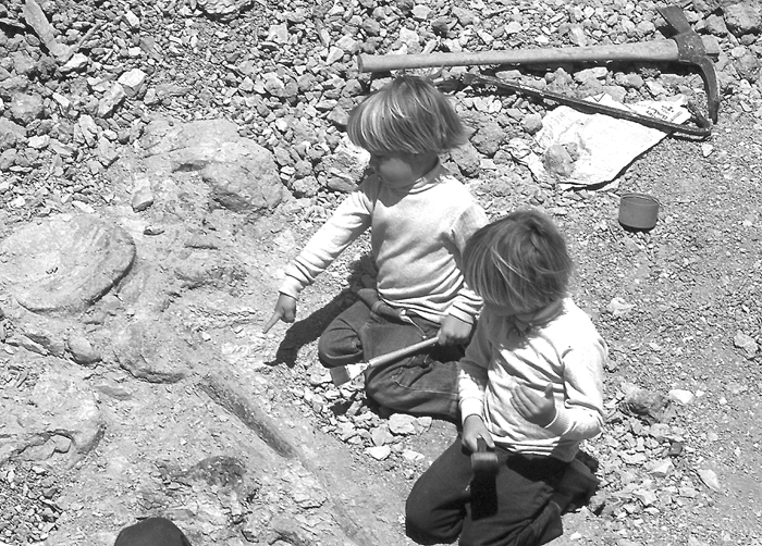 Donald and Marcus looking at fossil dinosaur bones in the San Ysidro Dinosaur dig near Albuquerque New Mexico